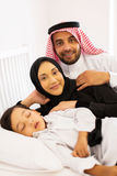 arabian couple bed son Royalty Free Stock Image