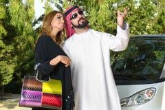 Arabian Couple outdoors having fun time Stock Image