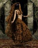 Arabian dancer. Veiled Arabian dancer among ruins stock illustration