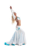 Arabian dancer in white costume with long hairs Stock Images