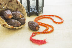 Arabian dates and Ramadan lanterns. Stock Photo