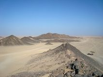 Arabian desert. The view from the top of the mountain. stock photos