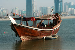 Arabian dhow. Traditional old water transport in the Gulf stock photos