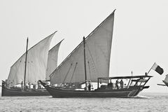 Arabian Dhow Sailing Out Of The Mist Royalty Free Stock Photography