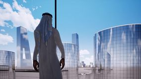 Arabian entrepreneur contemplating next big business deal video. Saudi company boss, businessman at modern luxury Dubai office animation. UAE corporate stock illustration