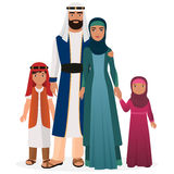 Arabian family. Arabian man and woman with boy and girl kids in traditional national clothes. Stock Photos