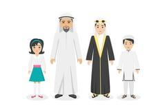 Arabian Family People Design Flat. Arabian family people in national clothes design flat. Arabian man and family, arabesque or islamic people, muslim arabic Royalty Free Stock Images
