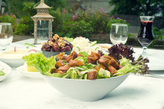 Arabian food of fattoush, dates, jalab served in Ramadan Royalty Free Stock Photos