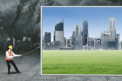 Arabian foreman tries to save environment royalty free stock photos