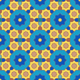 Arabian geometric yellow and blue colors pattern 03 Stock Images