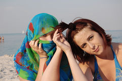 Arabian girl in blue and girl Stock Photography