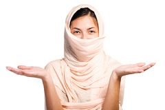 Arabian girl in peach color shawl Royalty Free Stock Image