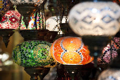 Arabian glass lanterns. Colourful traditional Arabic lanterns for sale in a marketplace in the Middle East Stock Photography