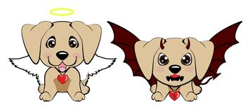 Devil Dog with horns and bat wings and happy dog angel. Arabian Greyhound. Devil Dog with horns and bat wings and happy dog angel stock illustration