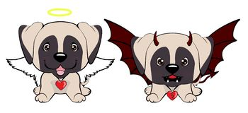 Devil Dog with horns and bat wings and happy dog angel. Arabian Greyhound. Devil Dog with horns and bat wings and happy dog angel vector illustration