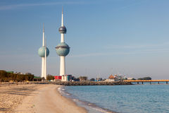 Arabian Gulf beach and the Kuwait Towers Royalty Free Stock Image