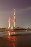 Arabian Gulf beach and the Kuwait Towers Stock Photos