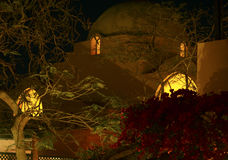 Arabian house roof Egypt night. Vacation background stock images