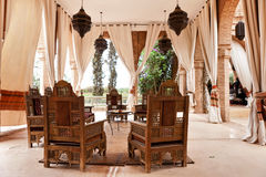 Arabian Interior. Interior view of an arabian Riad Tent with traditional furniture, carpet, Marrakech, Morocco, North Africa Royalty Free Stock Photo