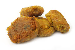 Arabian Kabab of fried meat. Over white background Royalty Free Stock Photography