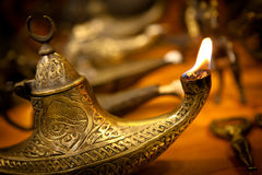 Arabian Lamp. Flaming Gold Arabian Oil Lamp royalty free stock photo