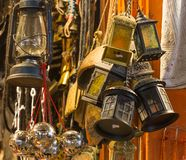 Arabian lamps at  Mutrah Souq, in Muscat, Oman. Beautiful Arabian lamps at ancient Mutrah Souq, in Muscat, Oman Stock Photos