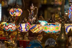Arabian lamps at  Mutrah Souq, in Muscat, Oman. Beautiful Arabian lamps at ancient Mutrah Souq, in Muscat, Oman Stock Image