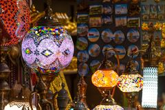 Arabian lamps at  Mutrah Souq, in Muscat, Oman. Beautiful Arabian lamps at ancient Mutrah Souq, in Muscat, Oman Stock Photography