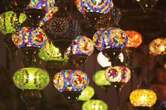 Arabian Lamps. Traditional Arabian hanging lamps with hand made glass work on metal, hanging beautiful colors Royalty Free Stock Images