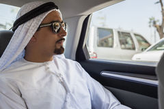 Arabian Man In Car. Young Arabian Man Is Traveling By Car Royalty Free Stock Image
