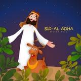 Arabian man with goat for Eid-Al-Adha Mubarak. Stock Images