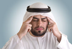 Arabian man having a headache Stock Image