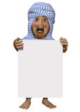 Arabian man, holding a sign Royalty Free Stock Photography