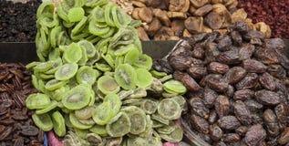 It is an Arabian market. Merchants sell dried fruits. Stock Photo