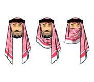 Arabian men wearing red scarves. Vector illustration of Arabian men wearing red scarves Royalty Free Stock Photo