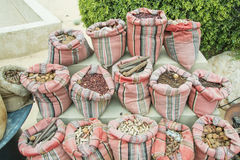 Arabian middle east spices for sell in the colourful sacks Royalty Free Stock Images