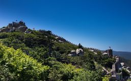 Arabian moorish castle on the hill. Sintra, Portugal Royalty Free Stock Photo