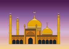 Arabian mosque. Illustration of the Arabian mosque at sunset vector illustration