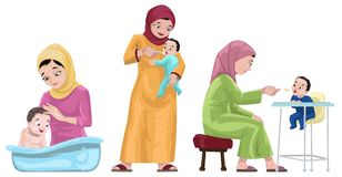 Arabian Mothers With Their Kids stock illustration