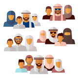 Arabian, muslim, middle eastern family icons. Family muslim and arabian family parent mother father and boy illustration stock illustration