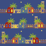 Arabian Night Houses Seamless Pattern Background stock photos