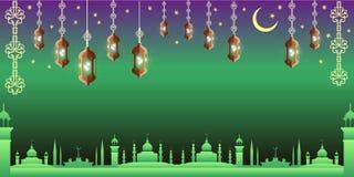Arabian night. Ramadan Kareem greeting card. stock illustration