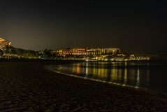 The arabian night on the sea of Oman, with reflections, stars an. D steep cliffs - 1 stock photos