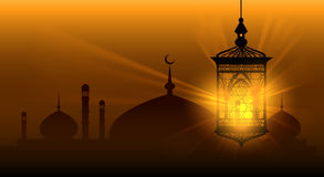 Arabian nights ramadan kareem islamic background. Ramadane arabic lamp or arab lantern vector background royalty free illustration