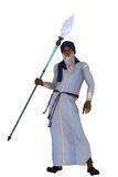 Arabian nights royal vizier. Elderly arabian nights vizier with long white beard wearing long robes and turban carrying flaming magic staff Royalty Free Stock Photography