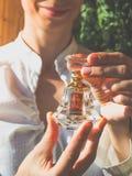 Arabian oud attar perfume or agarwood oil fragrances in crystal bottle. Arabian oud attar perfume or agarwood oil fragrances in crystal bottle Stock Photography