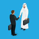 Arabian partners handshake concept. Business deal handshake with Arabic and European ethnic mans. Flat 3d vector. Isometric illustration Royalty Free Stock Image