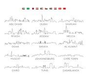 Arabian Peninsula and Africa skyline city line art, vector Illustration design. Illustration for design stock illustration
