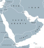 Arabian peninsula countries political map Stock Images