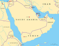 Arabian Peninsula Political Map Stock Photo